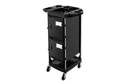 Black stylist cart with white labels
