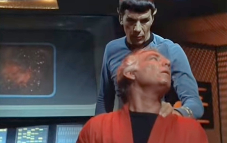 Spock performing the Vulcan Neck Pinch
