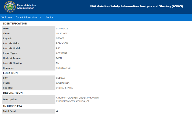colusa helicopter crash report