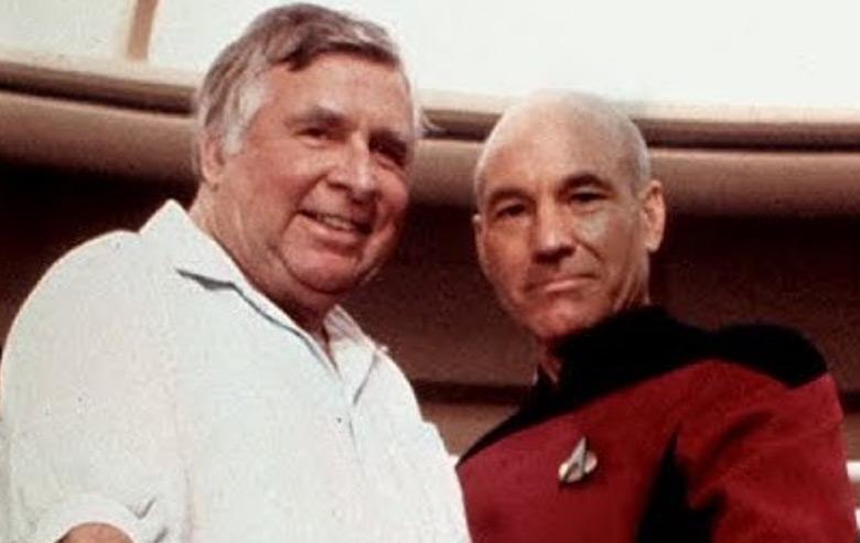 Gene Roddenberry and Patrick Stewart