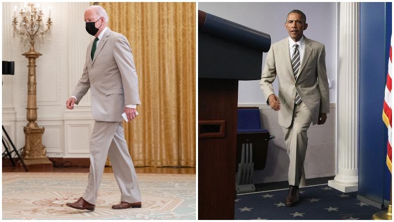 Biden vs Obama tan suit