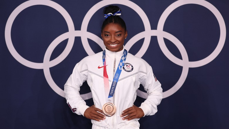 Simone Biles with her bronze medal.