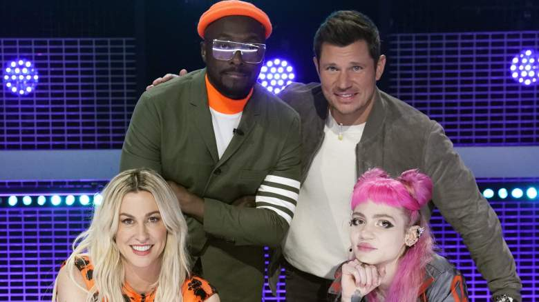 Judges Alanis Morissette, will.i.am, Nick Lachey and Grimes