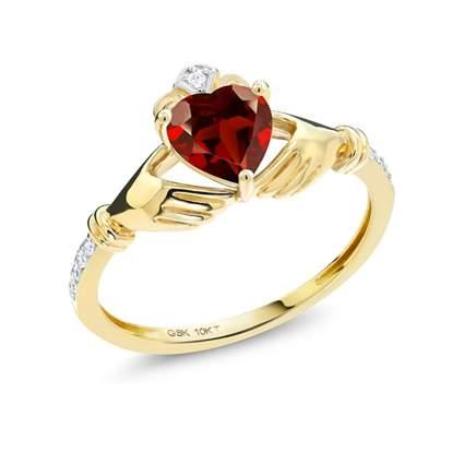 gold birthstone claddagh ring