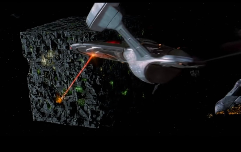"""The Enterprise engages with the Borg in """"Star Trek: First Contact"""""""