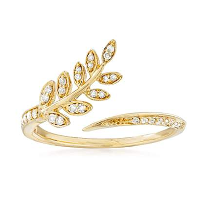 gold and diamond leaf bypass ring