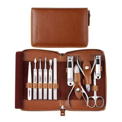 Brown leather manicure kit case