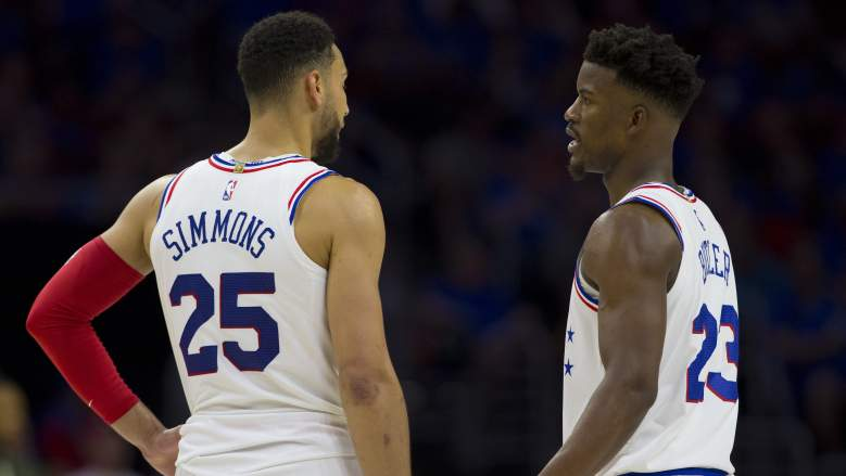 Ben Simmons (left) and Jimmy Butler, as Sixers teammates