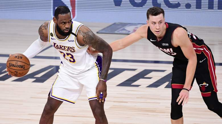 Duncan Robinson (right) is impressed with LeBron James' new teammates