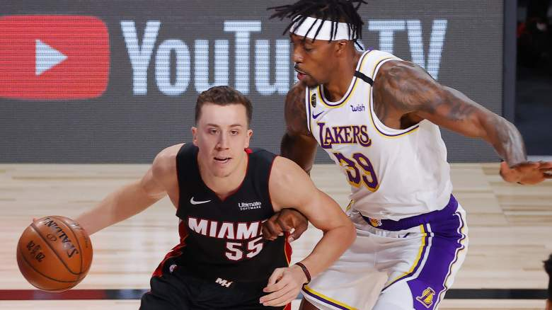 Duncan Robinson (left) of the Heat had praise for the Lakers' overhaul