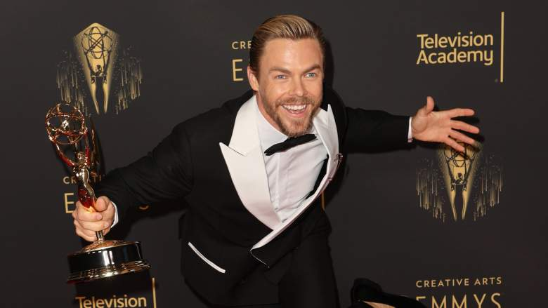 """Derek Hough poses with the award for Outstanding Choreography for Variety or Reality Programming for """"Dancing With The Stars"""" at the Creative Arts Emmys"""