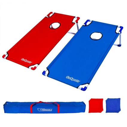 red and blue cornhole set