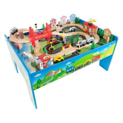Hey! Play! Deluxe Painted Wooden Train Set Table