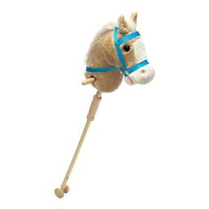 light tan hobby horse with blue bridle