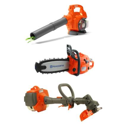Husqvarna Kids Toy Battery Operated Leaf Blower + Lawn Trimmer Line + Chainsaw