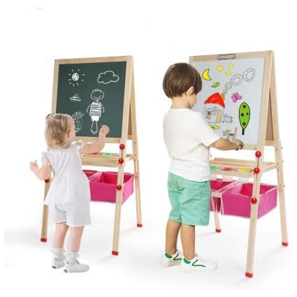 Kids Easel Double-Sided Magnetic Whiteboard & Chalkboard