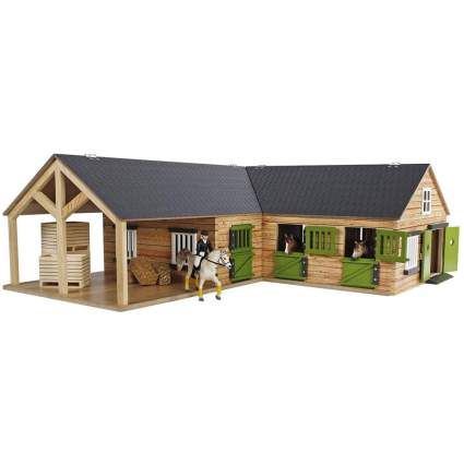 Realistic wooden horse stable toy