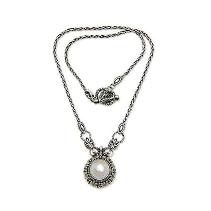 Novica pearl and sterling silver necklace