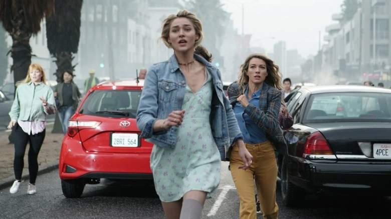 Pictured: (l-r) Zyra Gorecki as Izzy Harris, Natalie Zea as Eve Harris