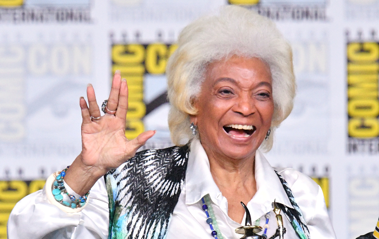 """Nichelle Nichols accepts an Inkpot Award onstage at the """"From The Bridge"""" Panel during Comic-Con International 2018 at San Diego Convention Center on July 19, 2018"""