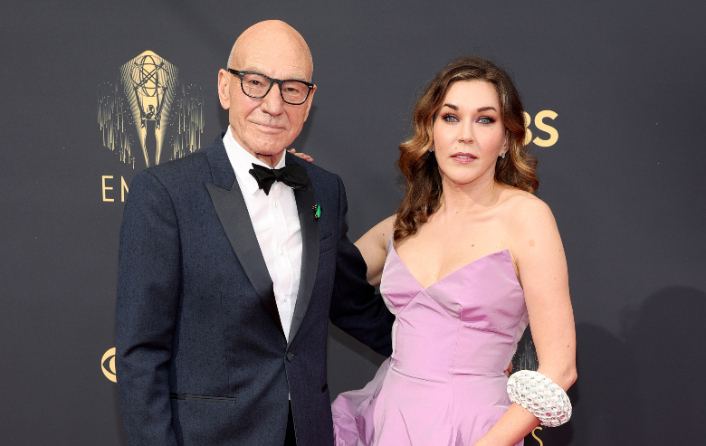Patrick Stewart and Sunny Ozell attend the 73rd Primetime Emmy Awards at L.A. LIVE on September 19, 2021 in Los Angeles, California