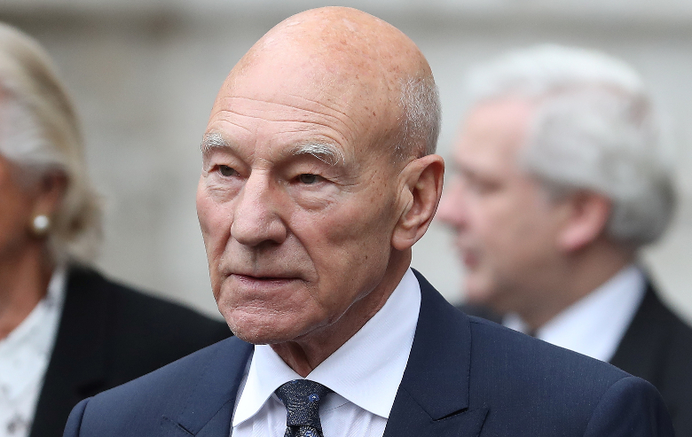 Patrick Stewart leaves from Westminster Abbey in central London on September 11, 2018, after attending a service of thanksgiving for the late English theatre, opera and film director, Peter Hall.