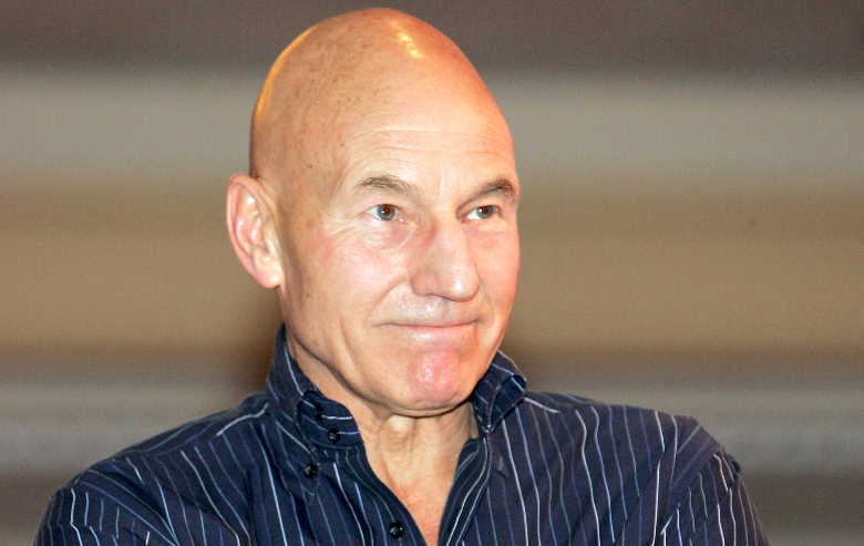 """Patrick Stewart, who played the character Capt. Jean-Luc Picard on the television series """"Star Trek: The Next Generation,"""" speaks at the Star Trek convention at the Las Vegas Hilton August 14, 2005 in Las Vegas, Nevada"""