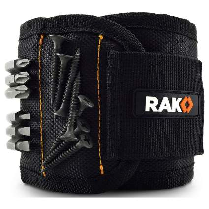 Black magnetic wrist band for screws and nails