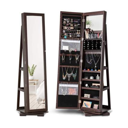 rotating jewelry armoire and mirror