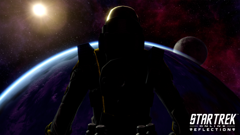 A shadowy figure observes a planet from the bridge of a ship in Star Trek Online: Reflections