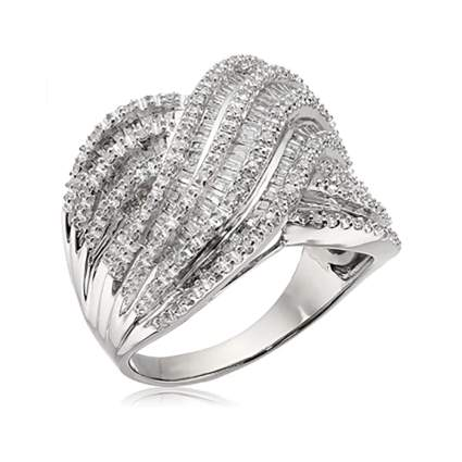 sterling silver baguette and round diamond ring