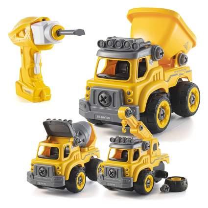 Top Race 3-in-1 Remote Control DIY Construction Trucks Set
