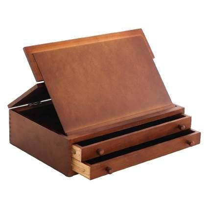 US Art Supply Walnut 2-Drawer Adjustable Storage Box