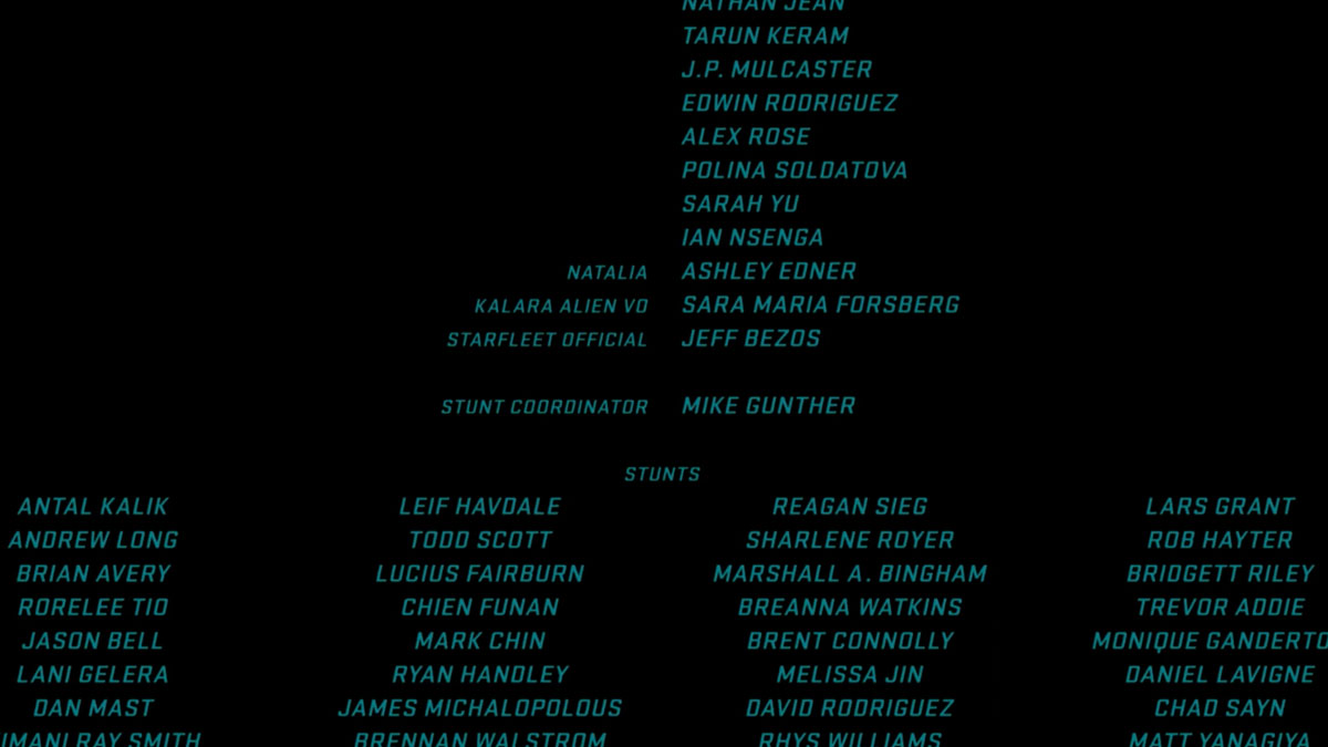 The credits from 'Star Trek Beyond.' If you look closely, you can see Jeff Bezo's credit.