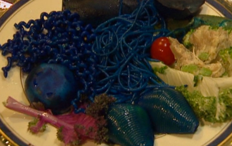 A close-up of the blue and purple food from 'Star Trek VI'