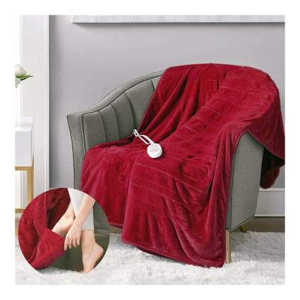 plush heated throw with foot pocket