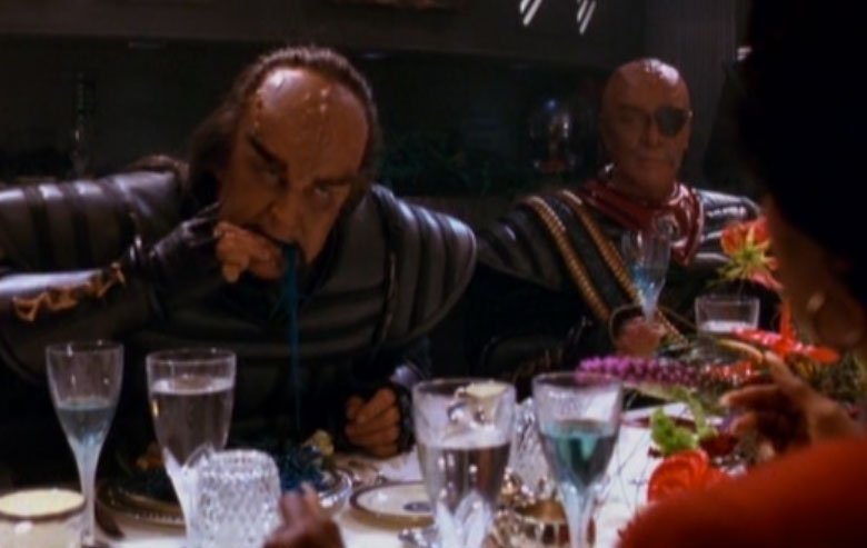Eating the blue food... in the classic Klingon style
