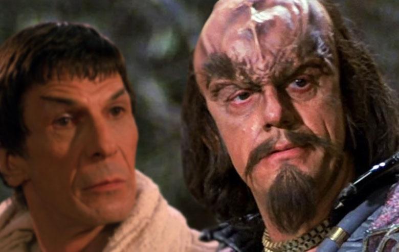 Leonard Nimoy as Spock and Christopher Lloyd as Kruge on 'Star Trek III.'