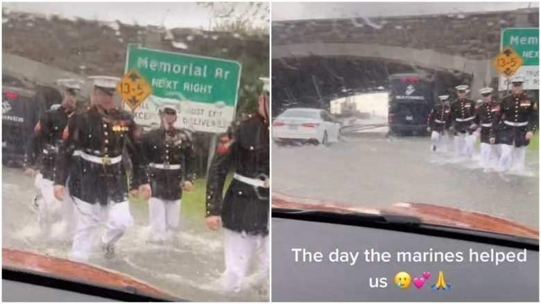 marines push stuck car