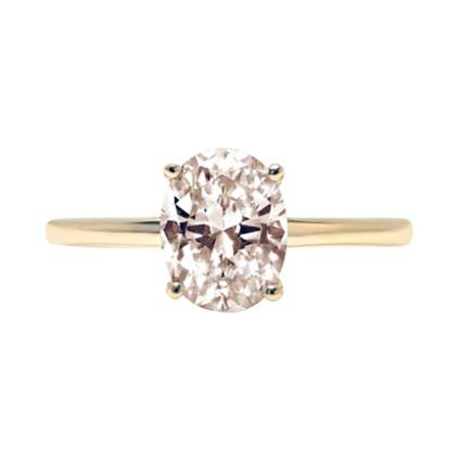 gold and morganite solitaire ring