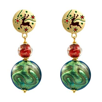 murano glass reindeer earrings
