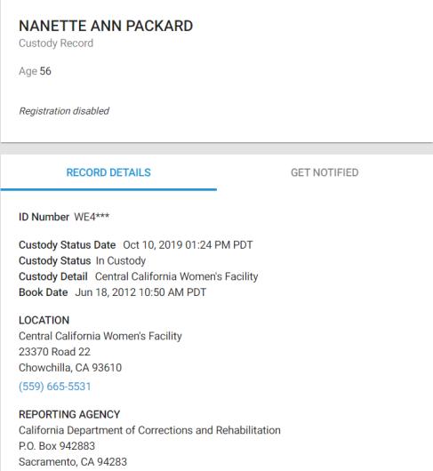 nanette packard prison record
