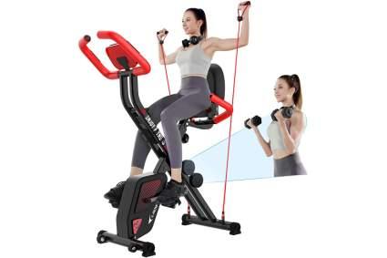 pooboo folding exercise bike