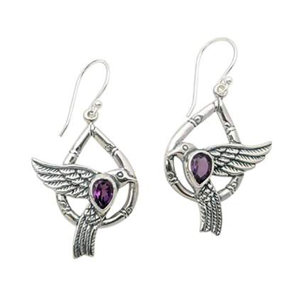sterling silver and amethyst dove earrings