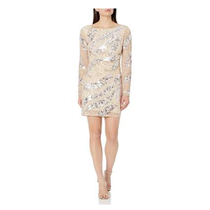cream beaded short party dress