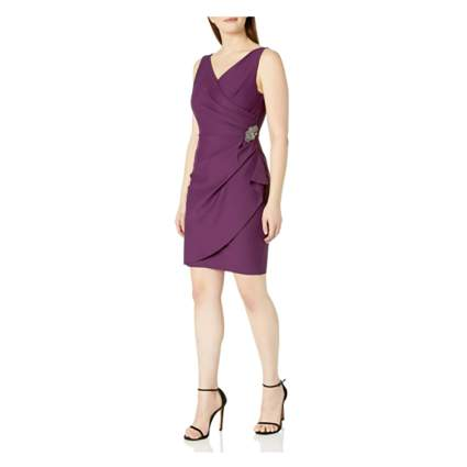 plum wrap style party dress