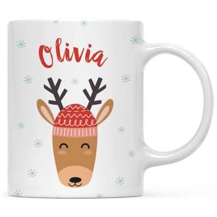 Cute reindeer mug with the name Olivia