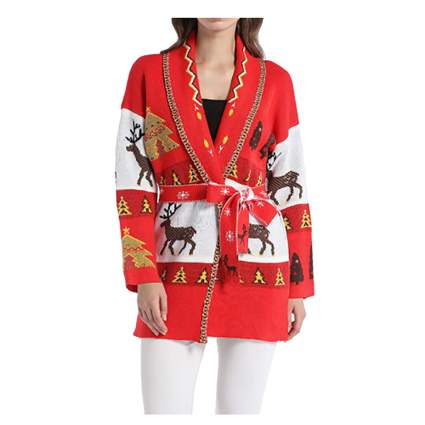 belted wrap christmas cardigan