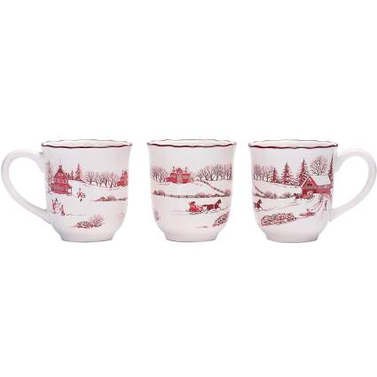 Red and white Toile winter themed mugs