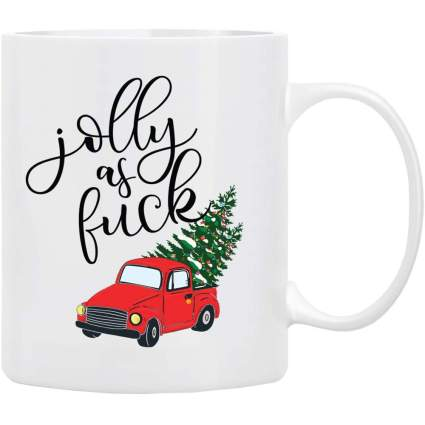 White mug with red Christmas truck reading Jolly AF